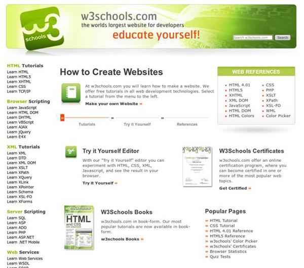 Школа W3 Schools для веб разработчиков - «Верстка»